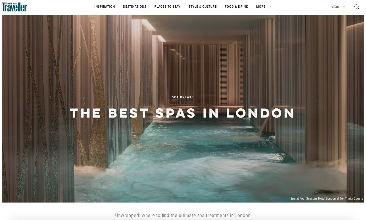 Ushvani Spa, Conde Nast Traveller's Best Spa's in London